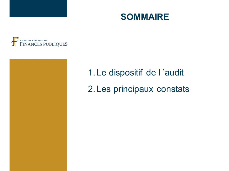 SOMMAIRE 1.Le dispositif de l audit 2.Les principaux constats
