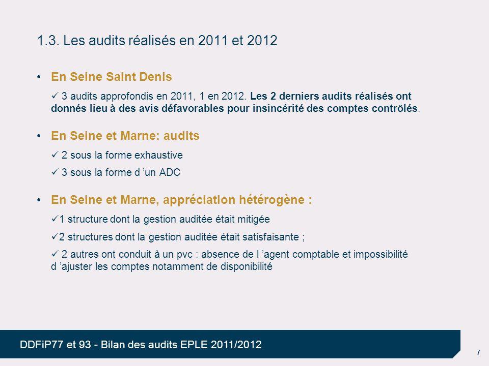 7 DDFiP77 et 93 - Bilan des audits EPLE 2011/2012 1.3. Les audits réalisés en 2011 et 2012 En Seine Saint Denis 3 audits approfondis en 2011, 1 en 201