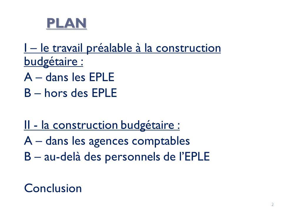 PLAN I – le travail préalable à la construction budgétaire : A – dans les EPLE B – hors des EPLE II - la construction budgétaire : A – dans les agence
