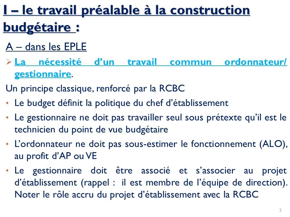I – le travail préalable à la construction budgétaire : A – dans les EPLE La nécessité dun travail commun ordonnateur/ gestionnaire. Un principe class