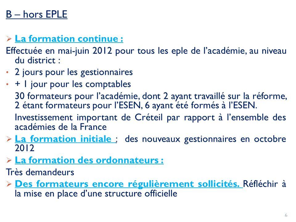 B – hors EPLE La formation continue : Effectuée en mai-juin 2012 pour tous les eple de lacadémie, au niveau du district : 2 jours pour les gestionnair