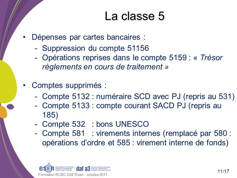 Formation RCBC DAF/Esen - octobre 2011 La classe 5 Dépenses par cartes bancaires : -Suppression du compte 51156 -Opérations reprises dans le compte 51