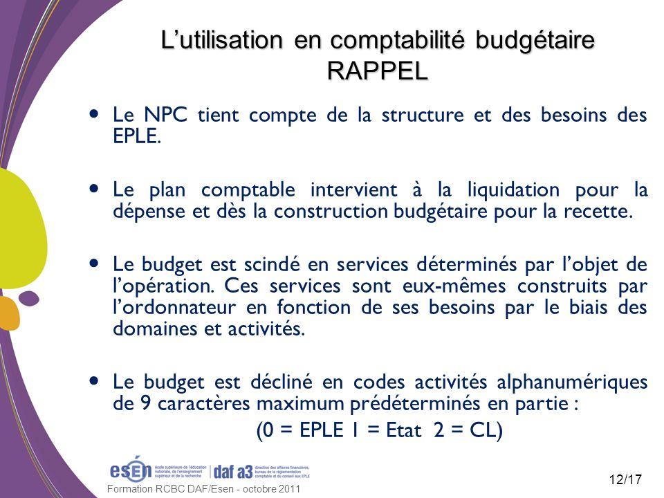 Formation RCBC DAF/Esen - octobre 2011 Lutilisation en comptabilité budgétaire RAPPEL Le NPC tient compte de la structure et des besoins des EPLE. Le