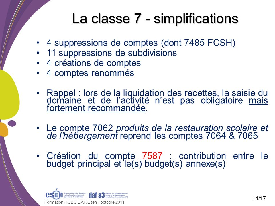Formation RCBC DAF/Esen - octobre 2011 La classe 7 - simplifications 4 suppressions de comptes (dont 7485 FCSH) 11 suppressions de subdivisions 4 créa