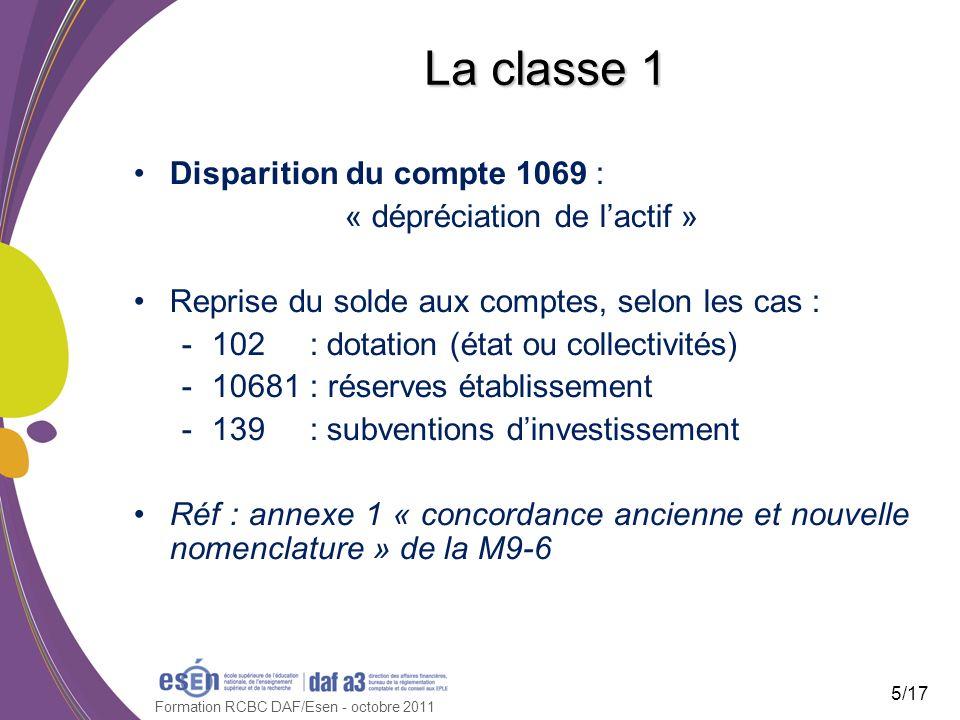 Formation RCBC DAF/Esen - octobre 2011 La classe 1 Disparition du compte 1069 : « dépréciation de lactif » Reprise du solde aux comptes, selon les cas