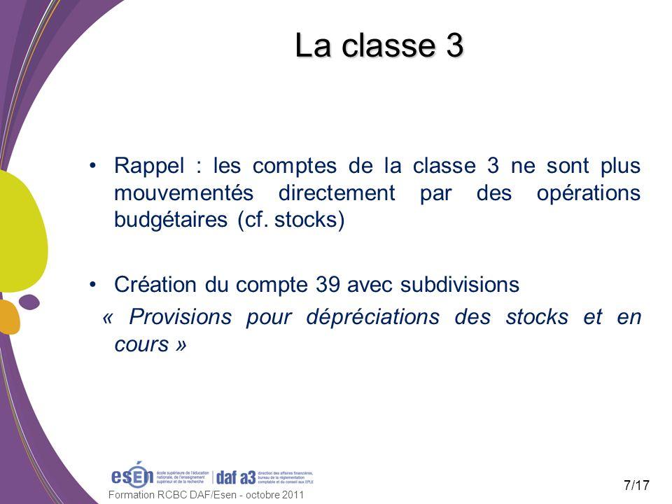 Formation RCBC DAF/Esen - octobre 2011 La classe 3 Rappel : les comptes de la classe 3 ne sont plus mouvementés directement par des opérations budgéta