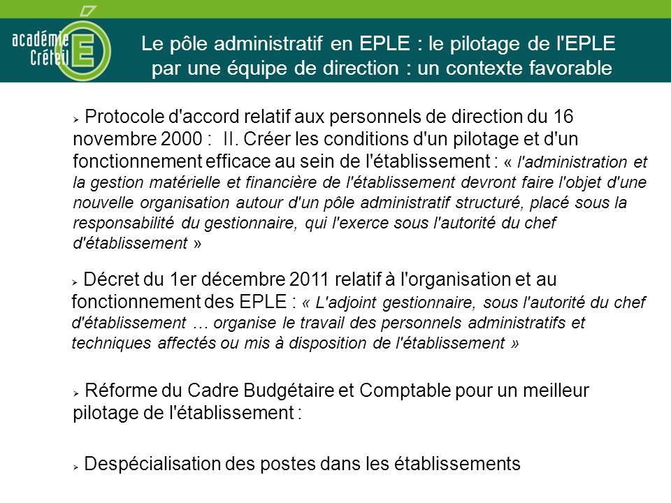 Le pôle administratif en EPLE : le pilotage de l EPLE par une équipe de direction : un contexte favorable Protocole d accord relatif aux personnels de direction du 16 novembre 2000 : II.