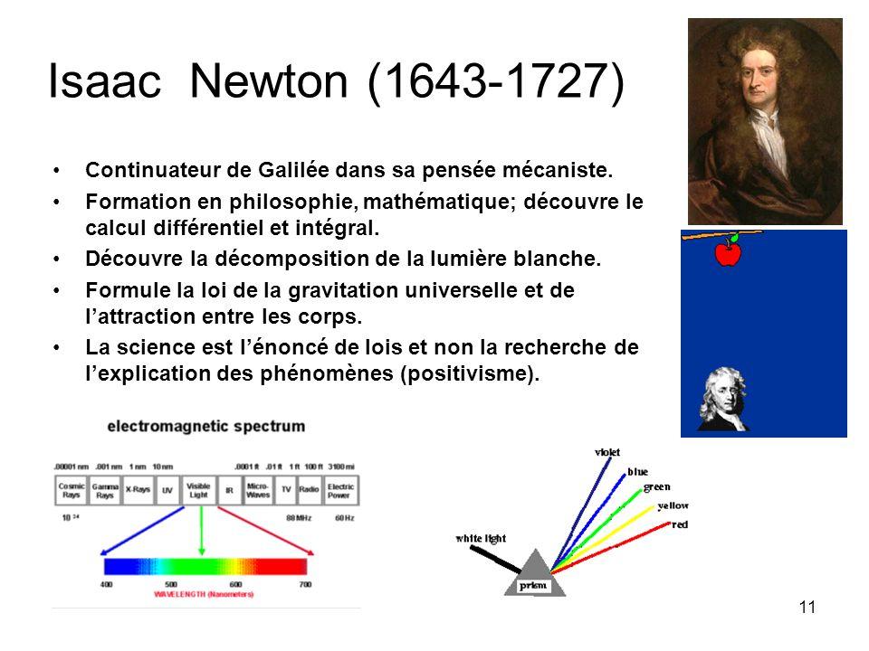 11 Isaac Newton (1643-1727) Continuateur de Galilée dans sa pensée mécaniste. Formation en philosophie, mathématique; découvre le calcul différentiel