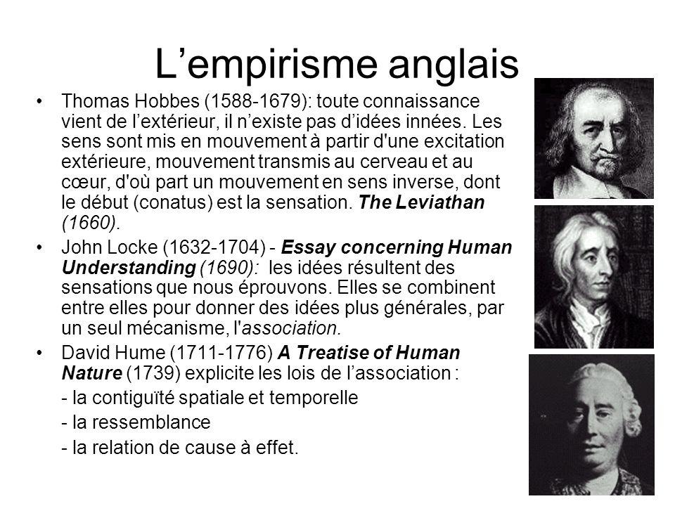 12 Lempirisme anglais Thomas Hobbes (1588-1679): toute connaissance vient de lextérieur, il nexiste pas didées innées. Les sens sont mis en mouvement