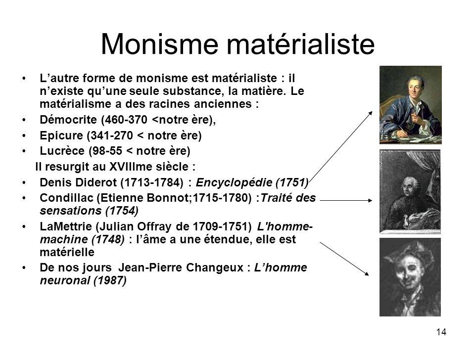 14 Monisme matérialiste Lautre forme de monisme est matérialiste : il nexiste quune seule substance, la matière. Le matérialisme a des racines ancienn