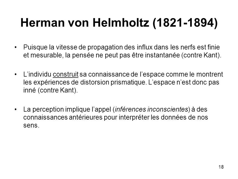 18 Herman von Helmholtz (1821-1894) Puisque la vitesse de propagation des influx dans les nerfs est finie et mesurable, la pensée ne peut pas être ins