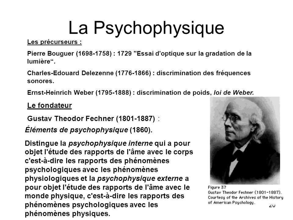 20 La Psychophysique Les précurseurs : Pierre Bouguer (1698-1758) : 1729
