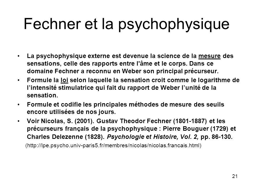 21 Fechner et la psychophysique La psychophysique externe est devenue la science de la mesure des sensations, celle des rapports entre l'âme et le cor