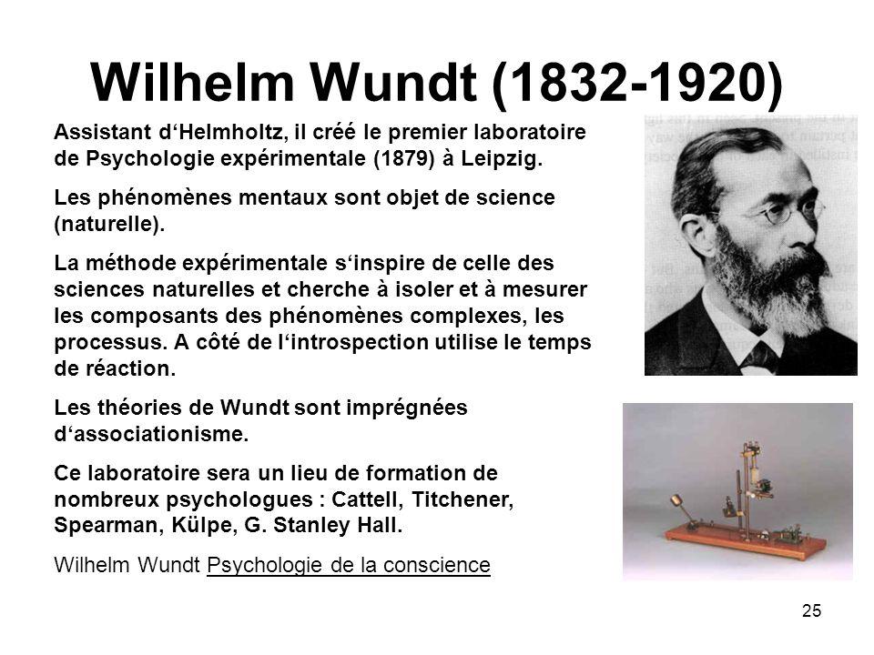 25 Wilhelm Wundt (1832-1920) Assistant dHelmholtz, il créé le premier laboratoire de Psychologie expérimentale (1879) à Leipzig. Les phénomènes mentau
