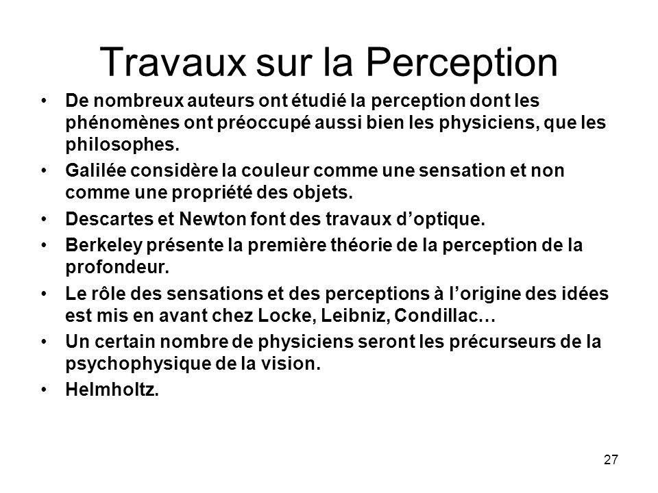 27 Travaux sur la Perception De nombreux auteurs ont étudié la perception dont les phénomènes ont préoccupé aussi bien les physiciens, que les philoso