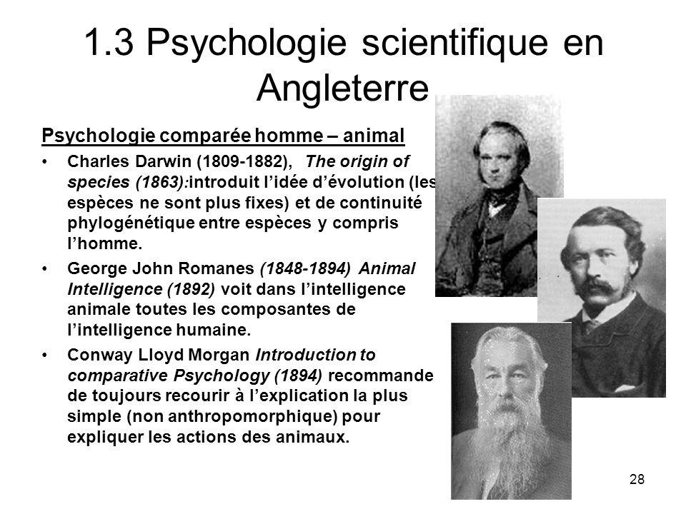 28 1.3 Psychologie scientifique en Angleterre Psychologie comparée homme – animal Charles Darwin (1809-1882), The origin of species (1863) : introduit