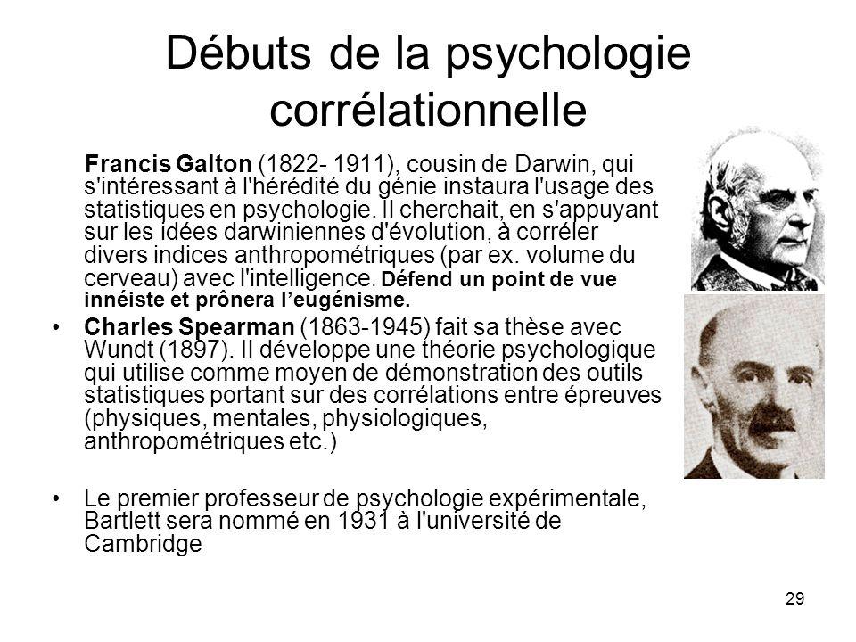 29 Débuts de la psychologie corrélationnelle Francis Galton (1822- 1911), cousin de Darwin, qui s'intéressant à l'hérédité du génie instaura l'usage d