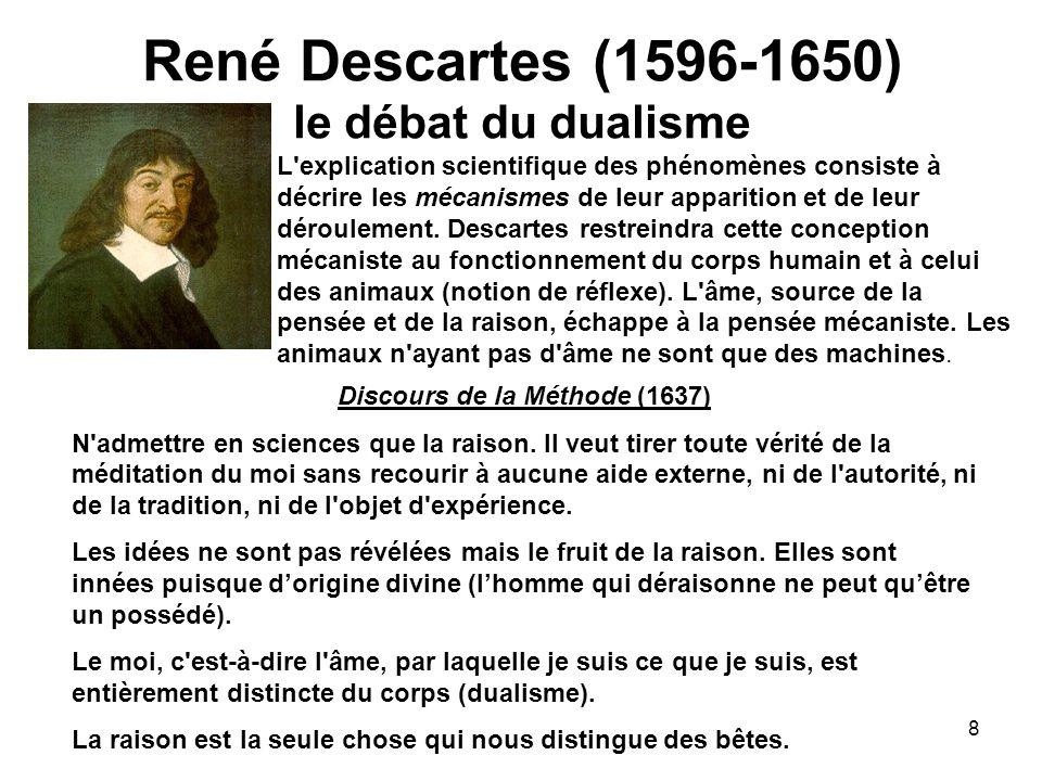 8 René Descartes (1596-1650) le débat du dualisme L'explication scientifique des phénomènes consiste à décrire les mécanismes de leur apparition et de