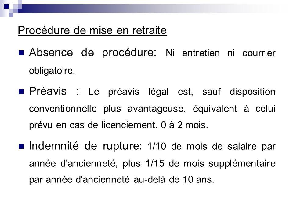 Procédure de mise en retraite Absence de procédure: Ni entretien ni courrier obligatoire. Préavis : Le préavis légal est, sauf disposition conventionn