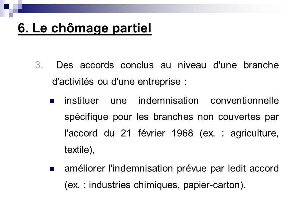 6. Le chômage partiel 3. Des accords conclus au niveau d'une branche d'activités ou d'une entreprise : instituer une indemnisation conventionnelle spé