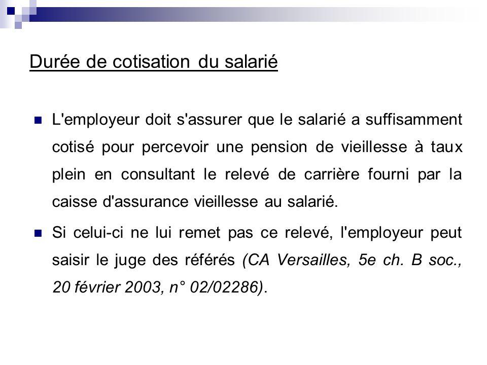 L'employeur doit s'assurer que le salarié a suffisamment cotisé pour percevoir une pension de vieillesse à taux plein en consultant le relevé de carri