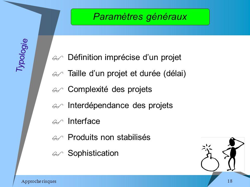Approche risques 18 Paramètres généraux Définition imprécise dun projet Taille dun projet et durée (délai) Complexité des projets Interdépendance des projets Interface Produits non stabilisés Sophistication Typologie