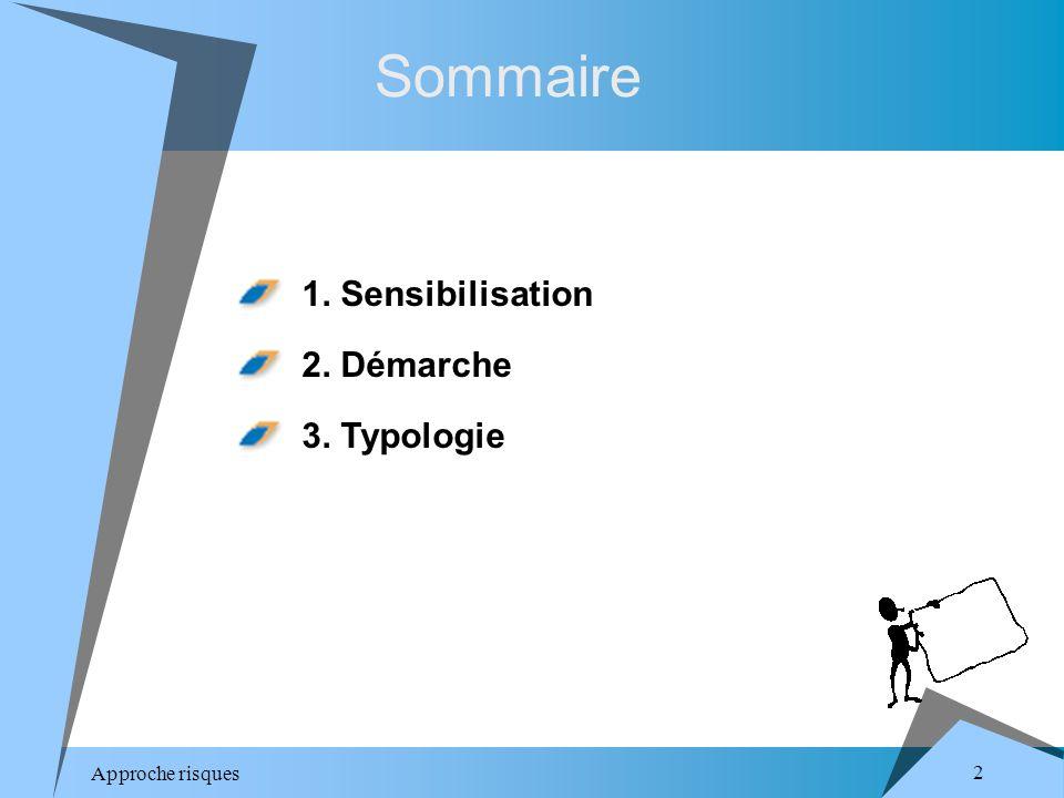 Approche risques 2 Sommaire 1. Sensibilisation 2. Démarche 3. Typologie