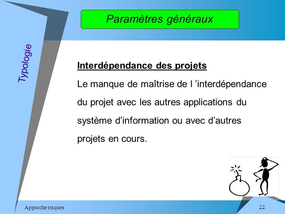 Approche risques 22 Paramètres généraux Interdépendance des projets Le manque de maîtrise de l interdépendance du projet avec les autres applications du système dinformation ou avec dautres projets en cours.