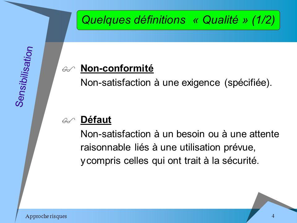 Approche risques 4 Quelques définitions « Qualité » (1/2) Non-conformité Non-satisfaction à une exigence (spécifiée).