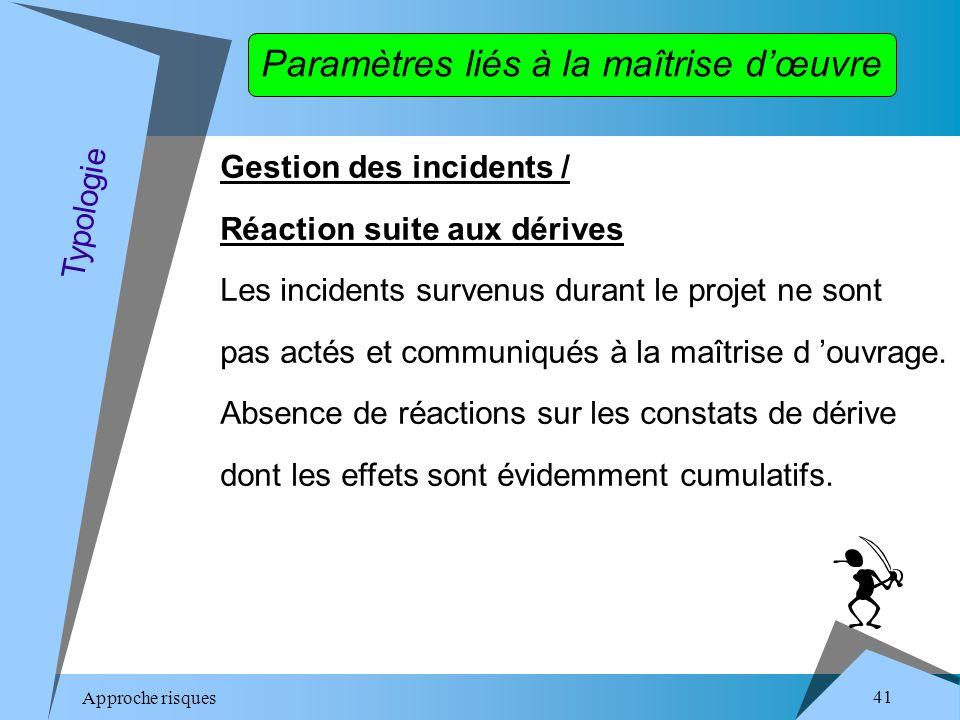 Approche risques 41 Gestion des incidents / Réaction suite aux dérives Les incidents survenus durant le projet ne sont pas actés et communiqués à la maîtrise d ouvrage.