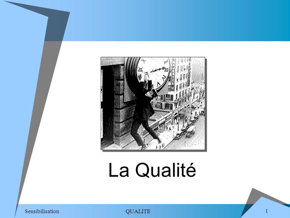 Sensibilisation QUALITE 22 Definitions La définition de la QUALITE (2/2) Aptitude dun ensemble de caractéristiques intrinsèques à satisfaire des exigences