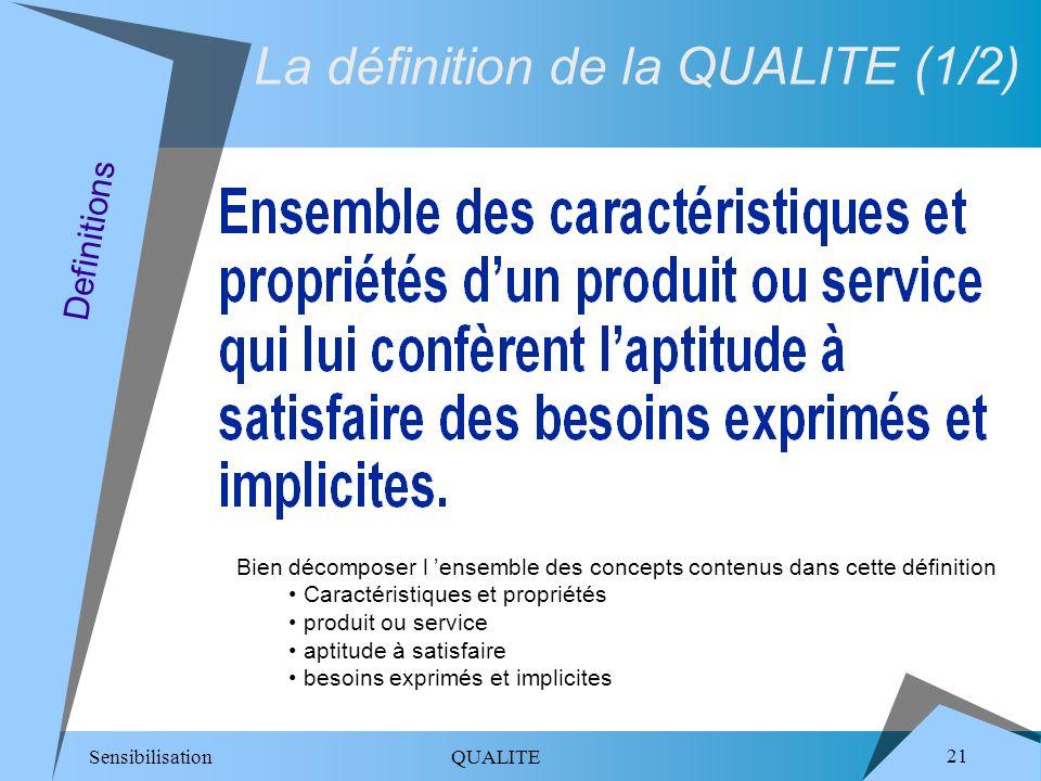 Sensibilisation QUALITE 21 Definitions La définition de la QUALITE (1/2) Bien décomposer l ensemble des concepts contenus dans cette définition Caractéristiques et propriétés produit ou service aptitude à satisfaire besoins exprimés et implicites