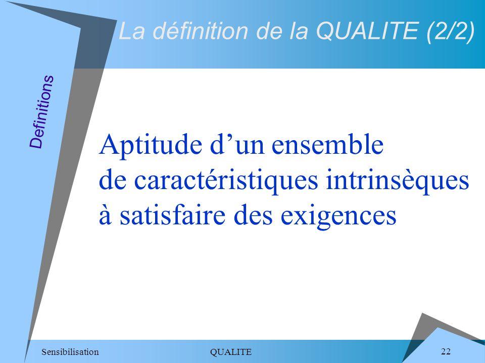 Sensibilisation QUALITE 22 Definitions La définition de la QUALITE (2/2) Aptitude dun ensemble de caractéristiques intrinsèques à satisfaire des exige