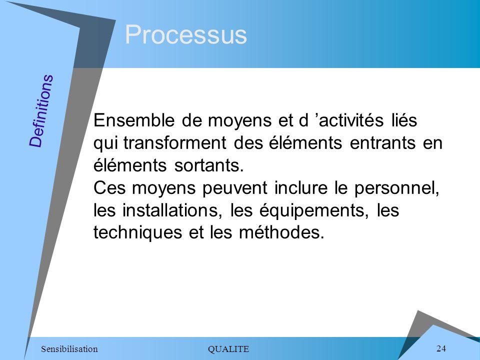 Sensibilisation QUALITE 24 Processus Ensemble de moyens et d activités liés qui transforment des éléments entrants en éléments sortants. Ces moyens pe