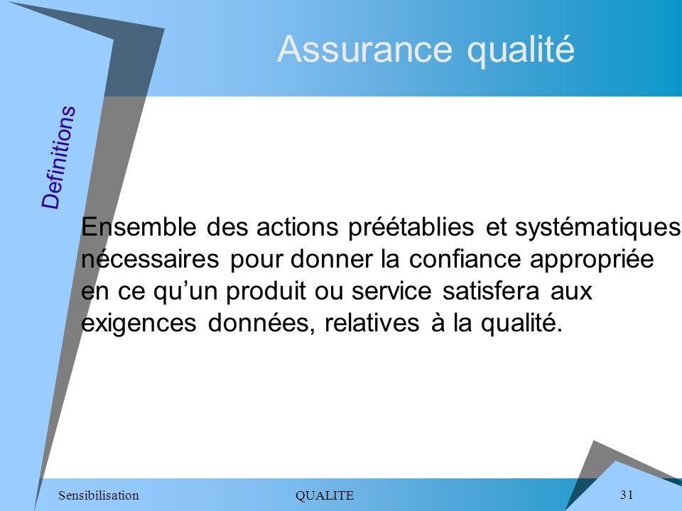 Sensibilisation QUALITE 31 Assurance qualité Ensemble des actions préétablies et systématiques nécessaires pour donner la confiance appropriée en ce quun produit ou service satisfera aux exigences données, relatives à la qualité.