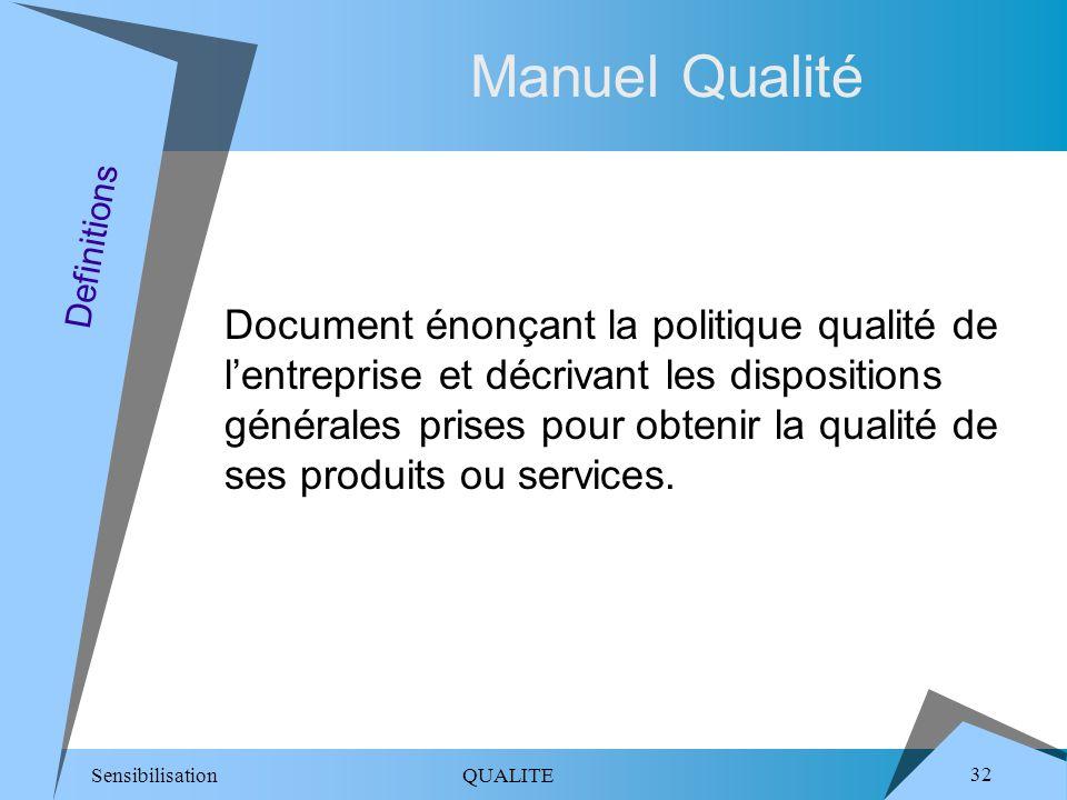 Sensibilisation QUALITE 32 Manuel Qualité Document énonçant la politique qualité de lentreprise et décrivant les dispositions générales prises pour obtenir la qualité de ses produits ou services.