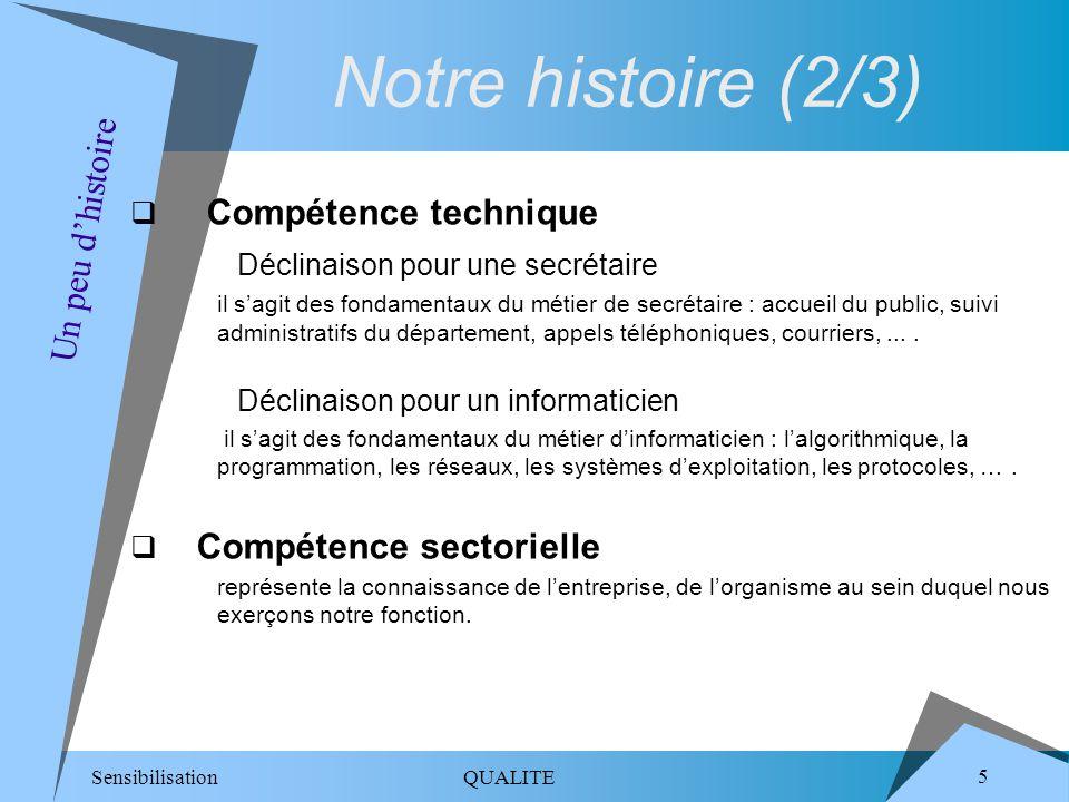 Sensibilisation QUALITE 6 Compétence méthode recouvre tous les aspects relatifs au savoir-faire, à la définition de processus, à la déclinaison de procédures, à lamélioration des bonnes pratiques, à une démarche damélioration ==> la qualité relève du cadre méthodologique.