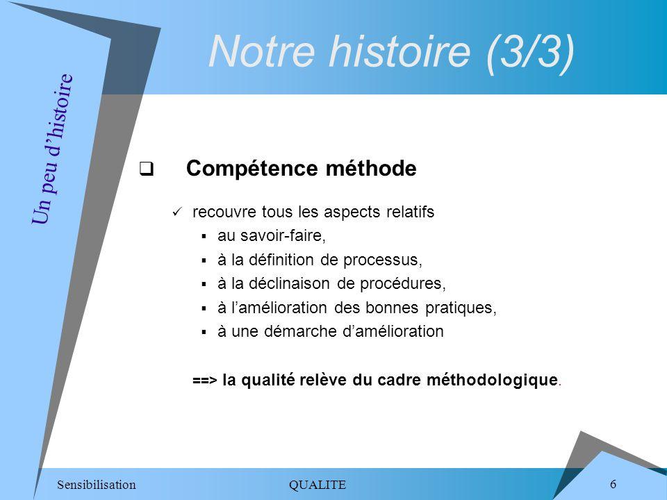 Sensibilisation QUALITE 6 Compétence méthode recouvre tous les aspects relatifs au savoir-faire, à la définition de processus, à la déclinaison de pro