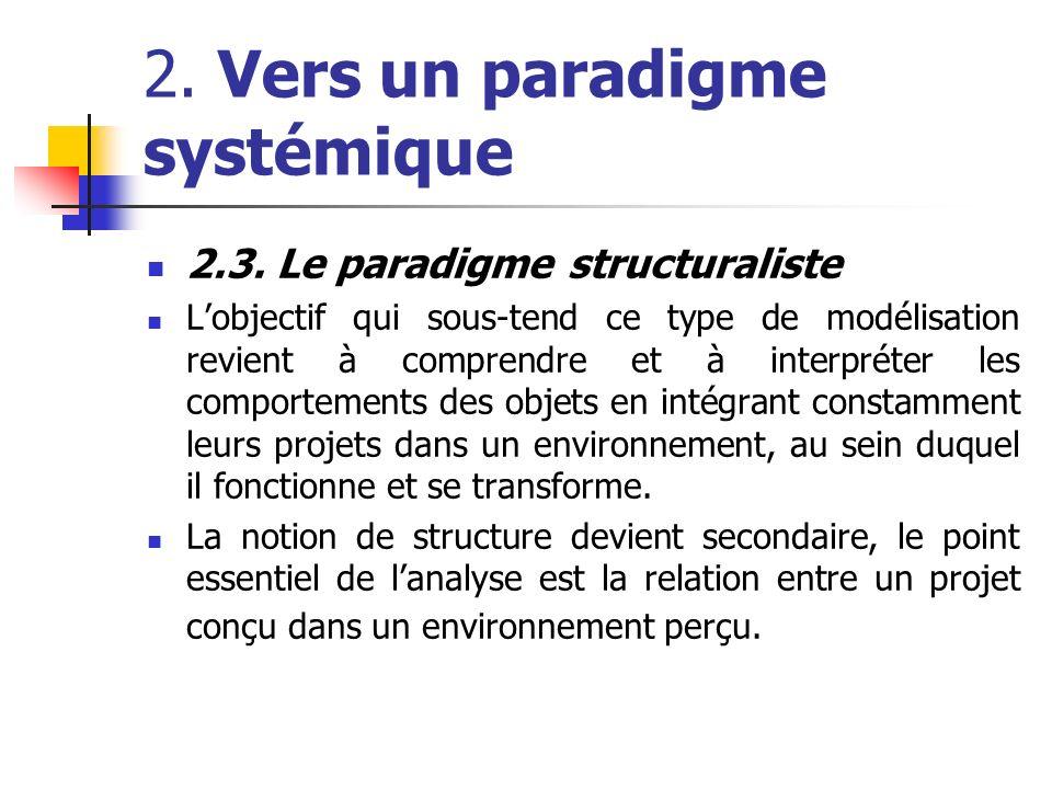 2. Vers un paradigme systémique 2.3. Le paradigme structuraliste Lobjectif qui sous-tend ce type de modélisation revient à comprendre et à interpréter