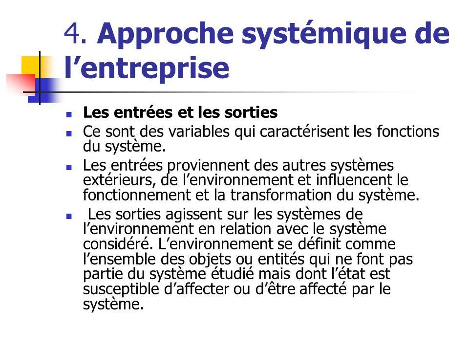 4. Approche systémique de lentreprise Les entrées et les sorties Ce sont des variables qui caractérisent les fonctions du système. Les entrées provien