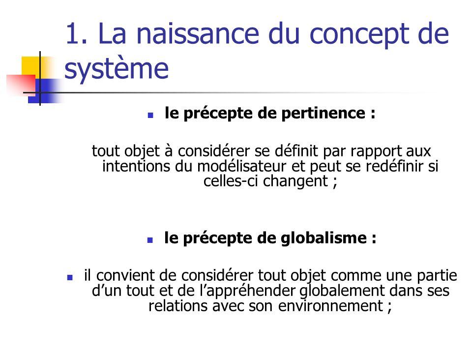 1. La naissance du concept de système le précepte de pertinence : tout objet à considérer se définit par rapport aux intentions du modélisateur et peu