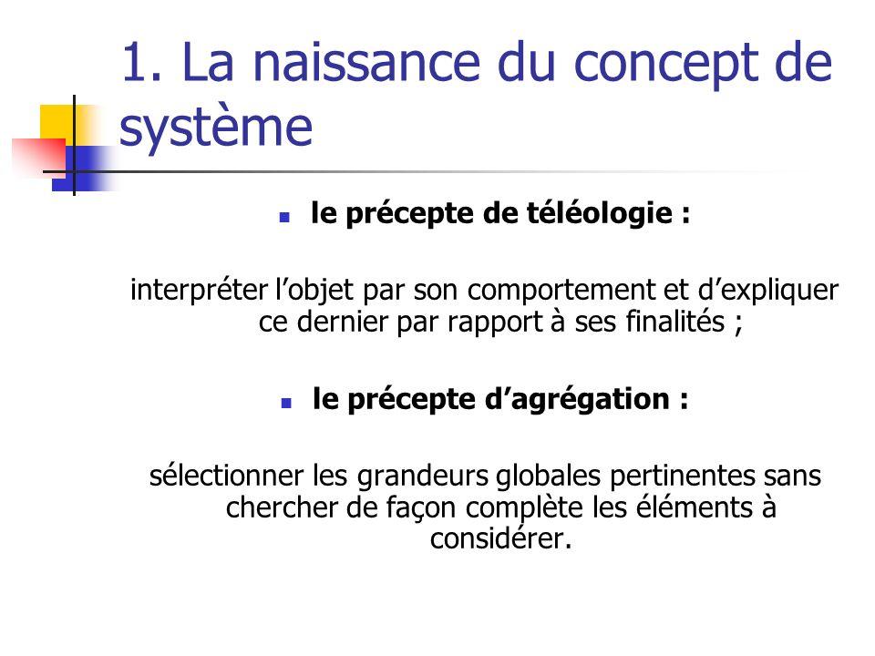 1. La naissance du concept de système le précepte de téléologie : interpréter lobjet par son comportement et dexpliquer ce dernier par rapport à ses f