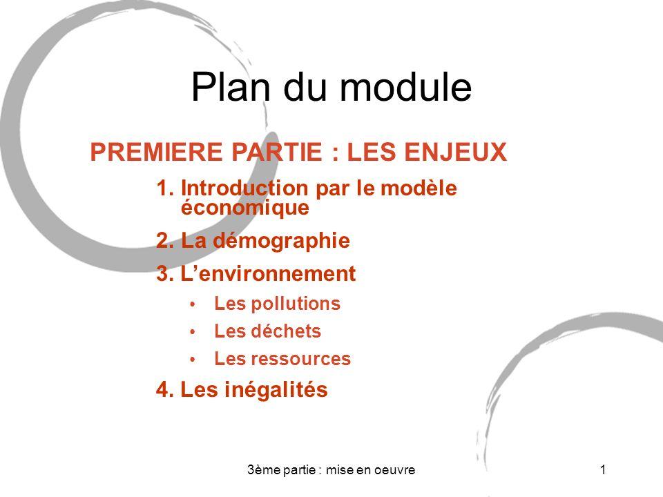 3ème partie : mise en oeuvre1 Plan du module PREMIERE PARTIE : LES ENJEUX 1.