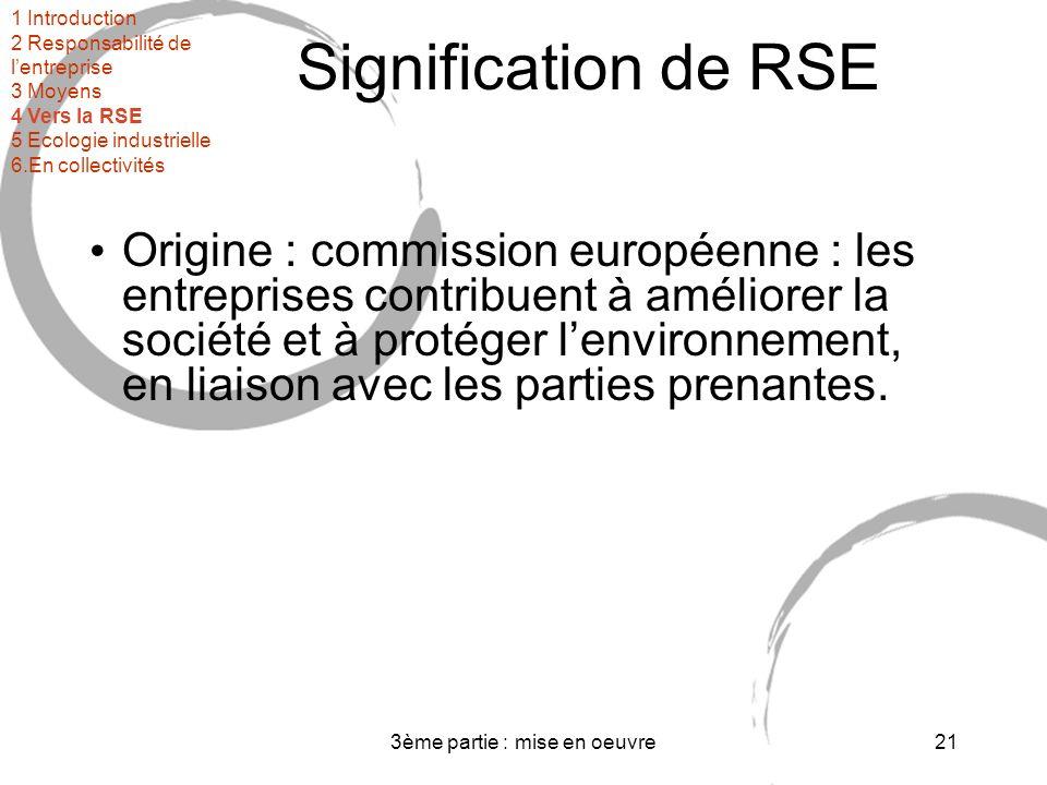 3ème partie : mise en oeuvre21 Signification de RSE Origine : commission européenne : les entreprises contribuent à améliorer la société et à protéger lenvironnement, en liaison avec les parties prenantes.