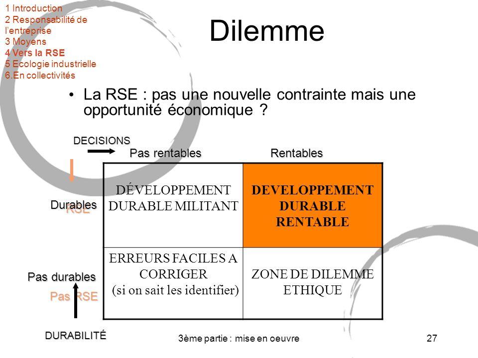 3ème partie : mise en oeuvre27 Dilemme La RSE : pas une nouvelle contrainte mais une opportunité économique .