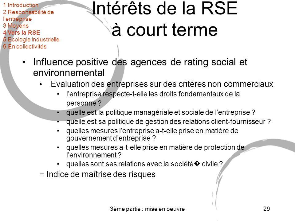3ème partie : mise en oeuvre29 Intérêts de la RSE à court terme Influence positive des agences de rating social et environnemental Evaluation des entreprises sur des critères non commerciaux lentreprise respecte-t-elle les droits fondamentaux de la personne .