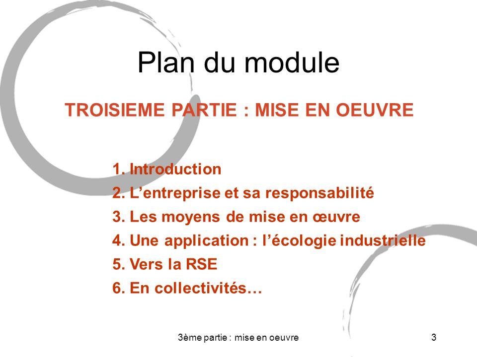 3ème partie : mise en oeuvre3 Plan du module TROISIEME PARTIE : MISE EN OEUVRE 1.