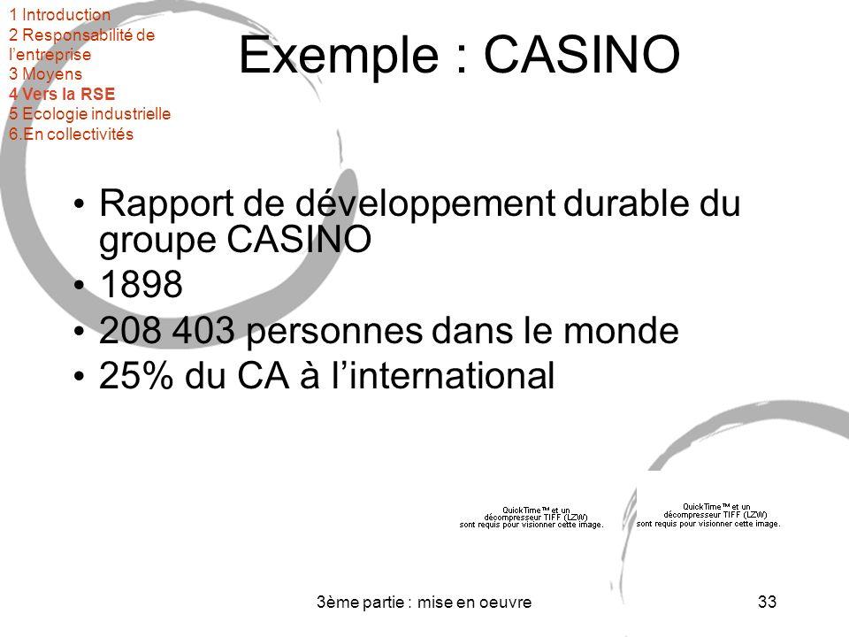 3ème partie : mise en oeuvre33 Exemple : CASINO Rapport de développement durable du groupe CASINO 1898 208 403 personnes dans le monde 25% du CA à linternational 1 Introduction 2 Responsabilité de lentreprise 3 Moyens 4 Vers la RSE 5 Ecologie industrielle 6.En collectivités