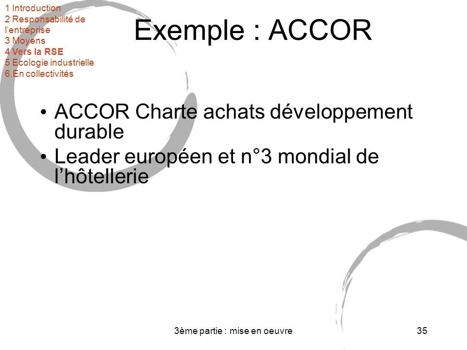 3ème partie : mise en oeuvre35 Exemple : ACCOR ACCOR Charte achats développement durable Leader européen et n°3 mondial de lhôtellerie 1 Introduction 2 Responsabilité de lentreprise 3 Moyens 4 Vers la RSE 5 Ecologie industrielle 6.En collectivités