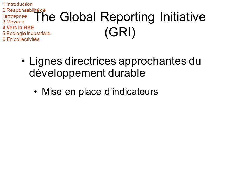 The Global Reporting Initiative (GRI) Lignes directrices approchantes du développement durable Mise en place dindicateurs 1 Introduction 2 Responsabilité de lentreprise 3 Moyens 4 Vers la RSE 5 Ecologie industrielle 6.En collectivités